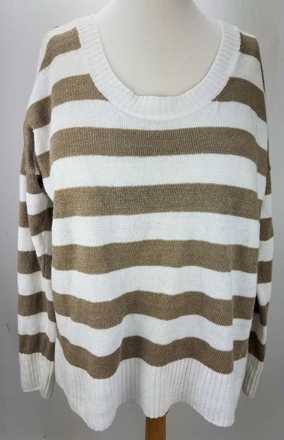 Eileen Fisher women striped long sleeve 100% linen sweater size S
