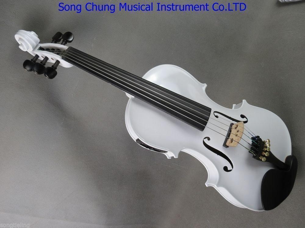 Top quality vit Färg 5 strings electric full storlek& acoustic violin 4 4
