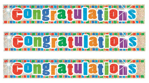 12 Feet Congratulations Party Foil Banner Wall Decorations Job Pass Glitz Prism
