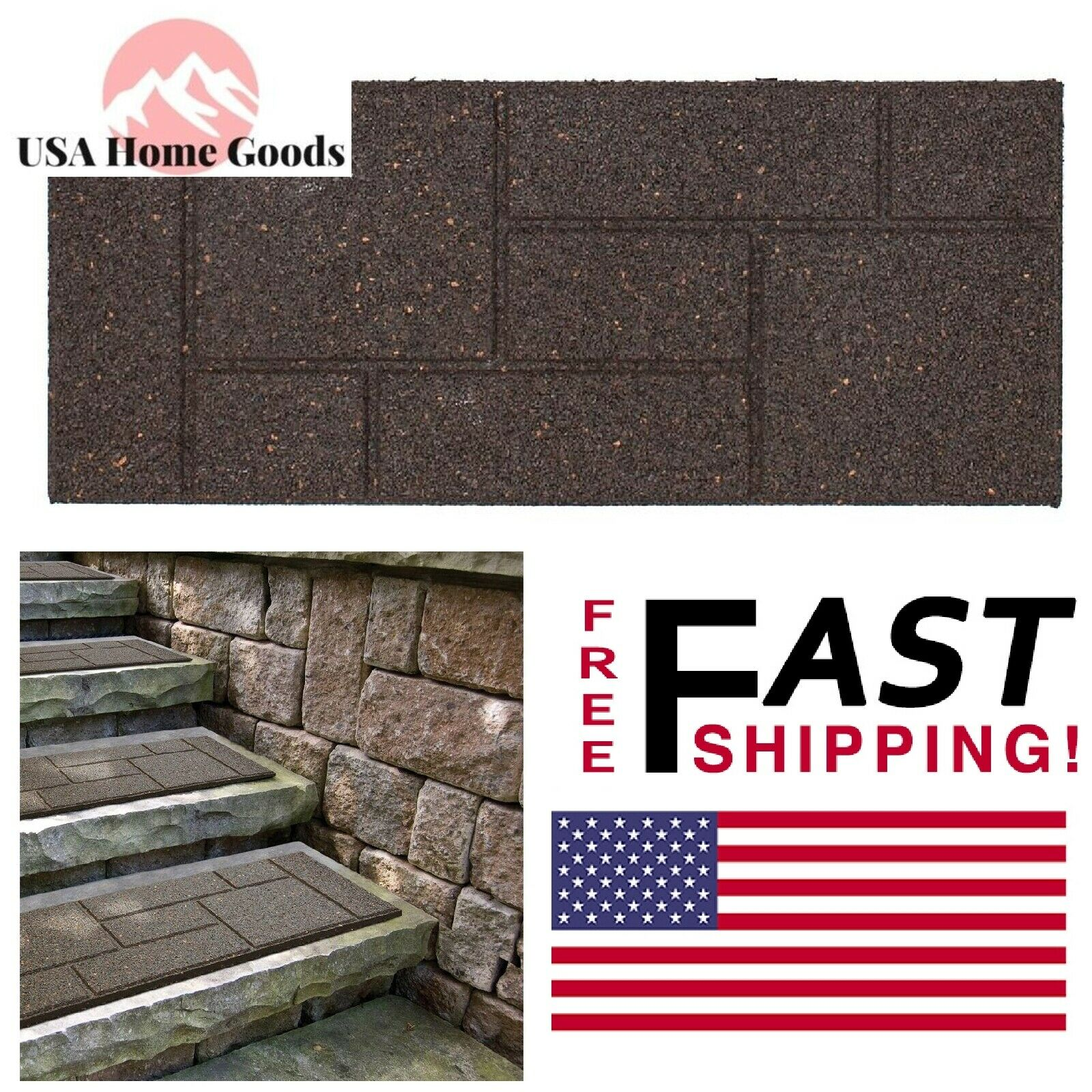 4 Pack 24 X 10 In. Rubber Stair Tread Paver Step Stone Patio Deck Balcony  Earth