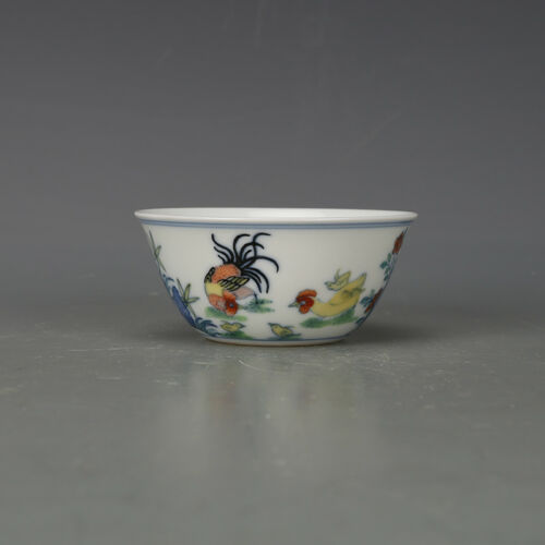 Old China  Porcelain doucai Hand painting chicken tea cup Qing yongzheng Mark