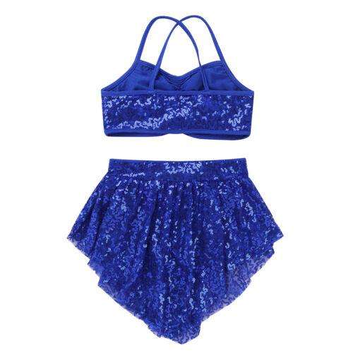 Girls Lyrical Ballet Dance Dress Sequins Modern Gym Latin Dance Skirt Costume