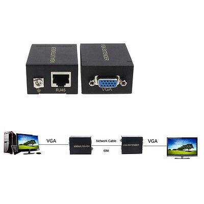 VGA Signal Extender 60M Amplifier Signal RJ45 CAT-5e/6 Ethernet Cable Tide