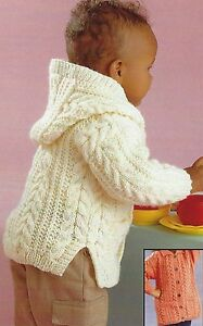 Childs Aran Jumper Knitting Pattern : Baby Aran Knitting Pattern Jacket with Hood Design Boys Girls 18-28
