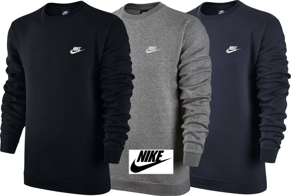 Nike Uomo Fleece Felpa Girocollo Club Cotone Allenamento Top Giacca Sportiva