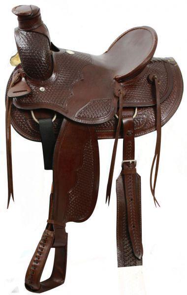 Buffalo Wade estilo sqhb cestería Fileteado 16  cuero crudo Cantle & Cuerno de silla de montar