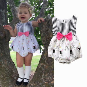 57011a47f5a3 Image is loading Newborn-Baby-Girls-Bunny-Bowknot-Romper-Bodysuit-Jumpsuit-