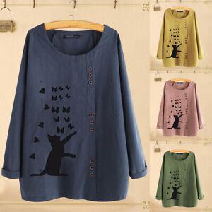 UK-Women-Long-Sleeve-Casual-Cartoon-Printed-Tops-T-Shirt-Cotton-Blouses-Kaftan