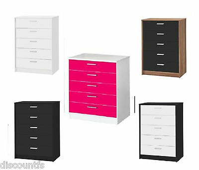 New 5 Drawer Chest Black, White, Walnut or Pink AVAILABLE - BEDROOM FURNITURE