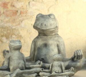 YOGA-FROSCH-Gartenfigur-Steinguss-Gartendeko-Steinfigur-Gartenskulptur-Vidroflor