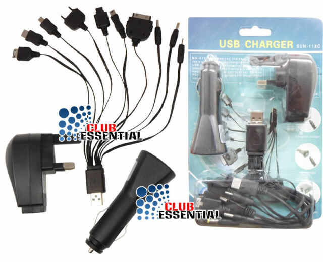 10 in1 Universal Multi USB Charger Mains Wall 3 Pin Plug & Car Charger