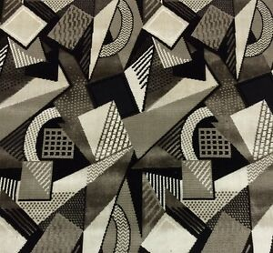 Image Is Loading Ln Toshibi Black White Geometric Velvet Upholstery Fabric