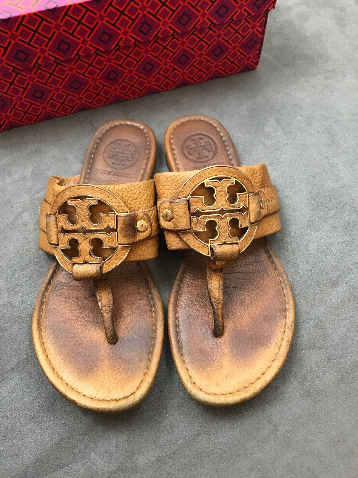 TORY BURCH Amanda Flat Leather Thong Sandal Beige Tan Sz 7 Miller  i9