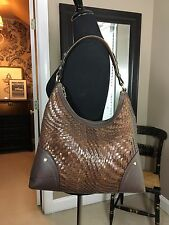 Cole Haan Genevieve Woven Leather Weave Brown Hobo Tote Bag Handbag Purse