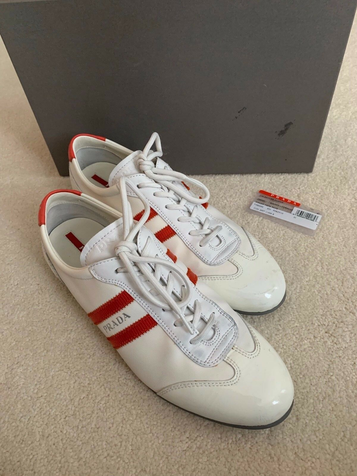 PRADA Nylon Tech Pate 3E4395 White and and and Coral Women's Sneakers Size 40 0824bf