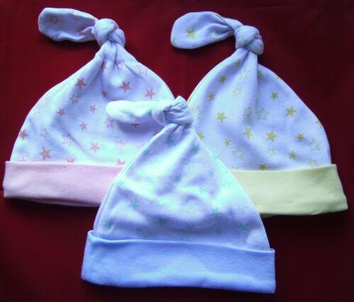 Stars Design Baby Hat 100/% Cotton Newborn Boy Girl Knotted Reborn Blue Pink Warm
