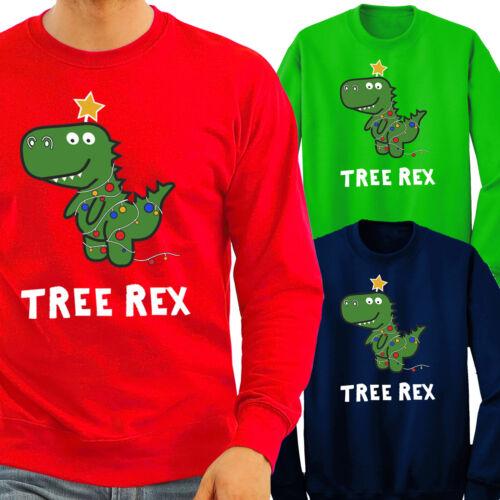 Tree Rex Jumper Christmas Funny Fun T Rex Dinosaur Lights Xmas Jumper Gift Tops