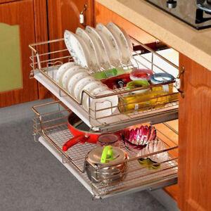 Image Is Loading Cabinet Sliding Organizer Rack Kitchen Cupboard Storage Shelf