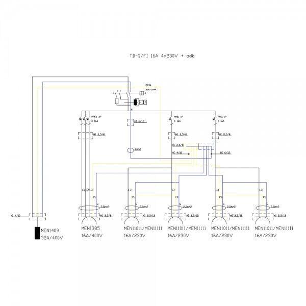Stromverteiler TD-S//FI 1x16A  4x230V m.32A Einbaustecker Baustromverteiler 2534