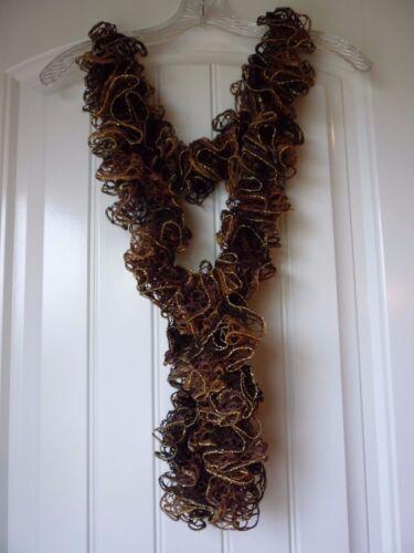 Mocha Sparkle Handmade Crocheted Fashion Ruffle Scarf