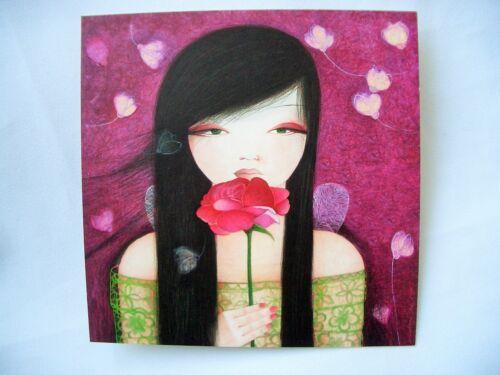 MILA*Postkarte*Mädchen-Romantik*Mädchen mit Rose*14 x14cm