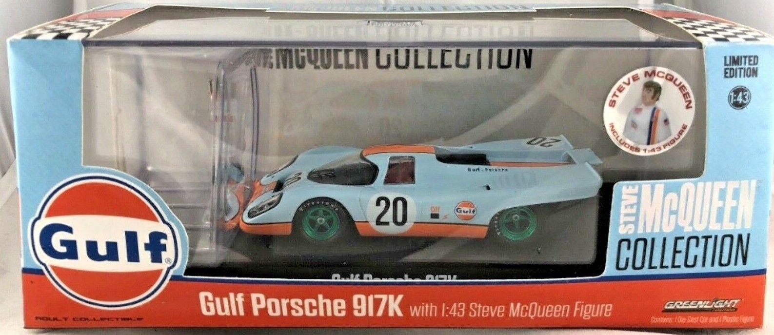 Máquina verde verdeLight Raro Chase 86435 Steve McQueen Gulf Porsche 917K 1 43