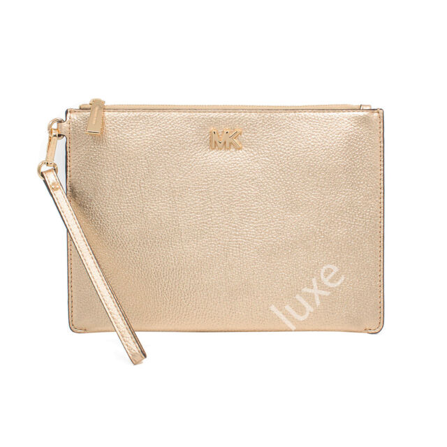 000499d2e55d1a NWT MICHAEL KORS Med Zip Clutch Pouch Wristlet in Pale Gold Pebbled Leather