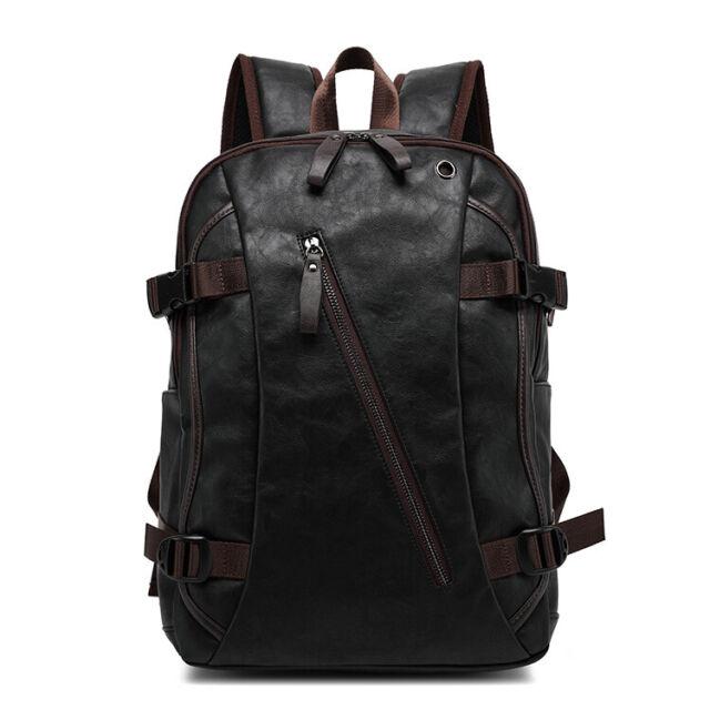 Men's Travel Bag Shoulder Bag Business Leather USB Charging Port Laptop Backpack