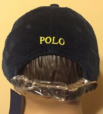 Polo Ralph Lauren Corduroy Hat Polo Country One Size Leather Strap Navy