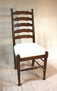 SOLID-OAK-LADDER-BACK-CHAIR-CRAFTSMAN-MADE-set-of-6-kitchen-DINING-TO-ORDER