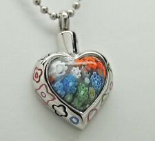 HEART CREMATION JEWELRY MURANO GLASS CREMATION URN NECKLACE MEMORIAL KEEPSAKE