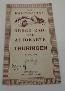 agk1124 Lovely Ravensteins Large Wheel And Car Map Thuringia 08.50 Antiques