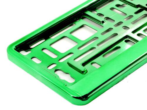 Chrome Voiture vert Number Plate Surround Support pour toute voiture camion remorque