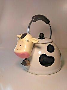Vintage-M-Kamenstein-Black-White-Cow-Whistling-Tea-Kettle-Stovetop-Clean-10-5-034-T