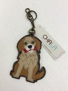 Chala-Golden-Retriever-Dog-Key-Chain-Charm-FOB-Ring-Faux-Leather-Coin-Purse-New