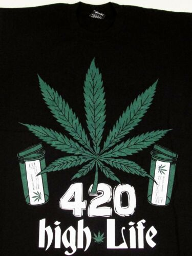 Marijuana T-shirt 420  Weed THC Cannabis HIGH LIFE Tee Adult Men Black New