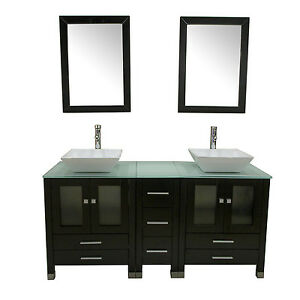 60 double sink bathroom cabinet solid wood vanity glass top cabinet w mirror ebay for Solid wood double sink bathroom vanity