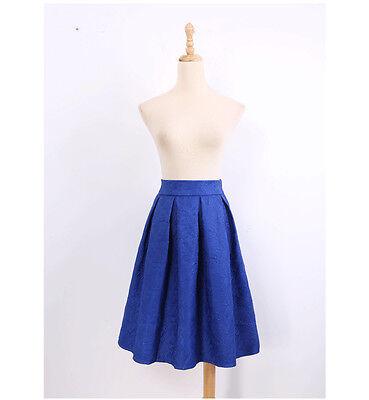 Women Retro Hepburn High Waist Prints Pleated A-Line Ball Gown Skater Midi Skirt