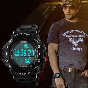 50m-Water-Resistance-Infantry-Digital-Stopwatch-Date-Rubber-Quartz-Wristwatch