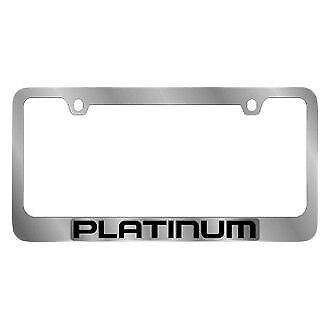 Ford Motor Company 2-Hole Polished License Plate Frame w Black Platinum Logo