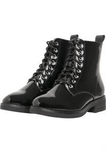 e5a78a7c29 Dettagli su URBAN CLASSICS Anfibi Stivali Scarponi donna lucidi Lace Boots