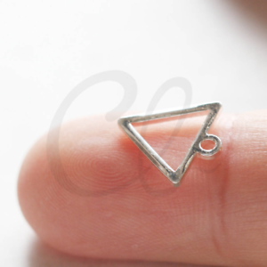 2 Pieces Silver Plated Brass Base Triangle Charm 3708C-J-297J 12x1mm