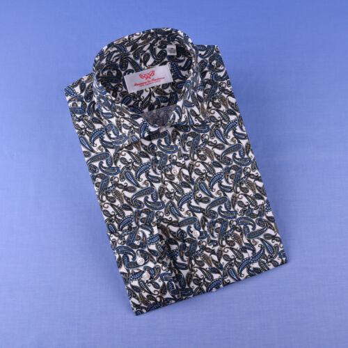 Blue Big Paisley Unique Designed Both Casual /& Formal Business Smart Dress Shirt