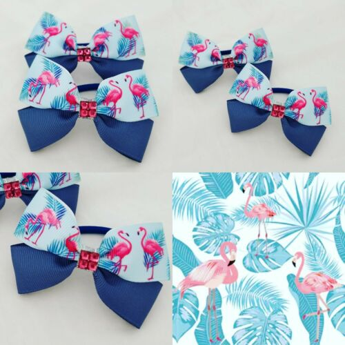 GIRLS HAIR BOW BOBBLES IN BLUE FLAMINGO RIBBON PATTERN SOLD IN PAIRS