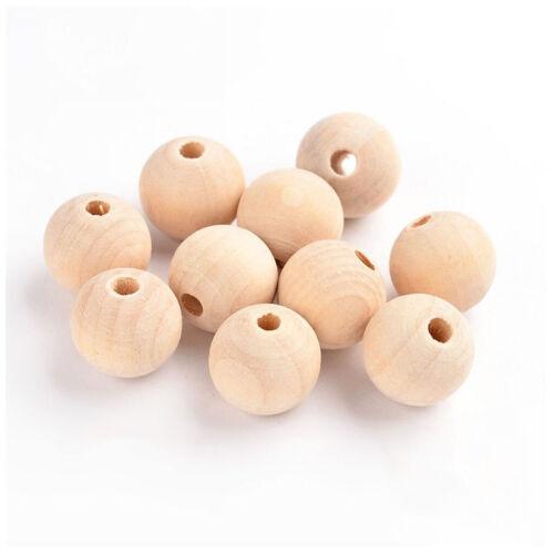 100 Stück unvollendete Holzperlen runde Kugel unlackiert Spacer Halskette