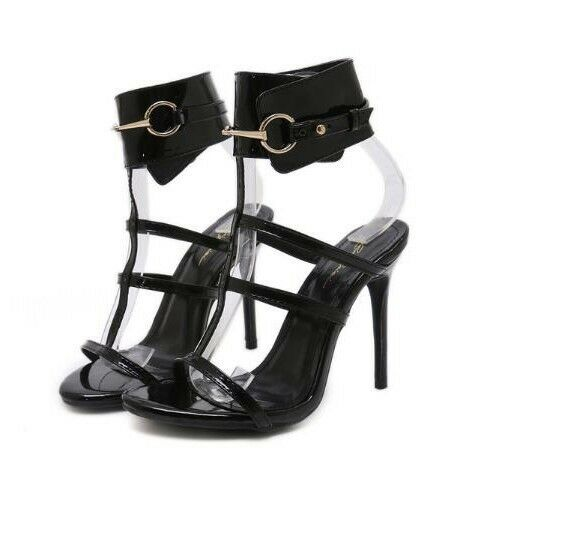 Sandali stiletto eleganti sabot 11 nero borchie simil pelle eleganti CW883