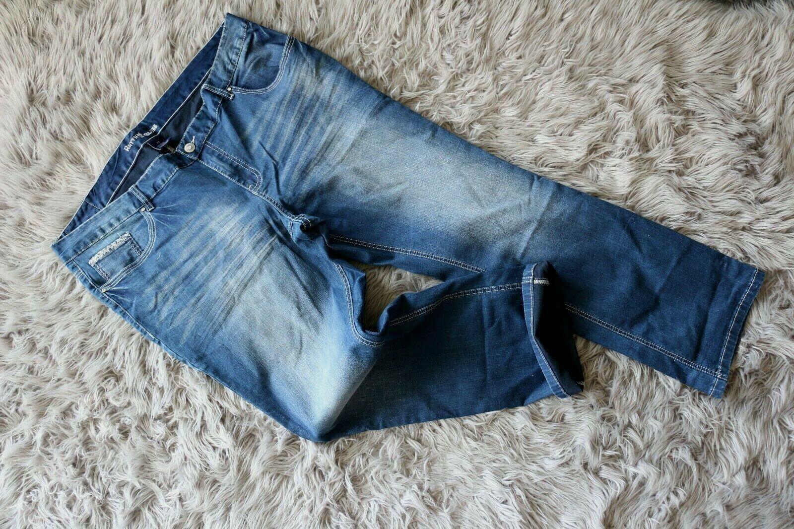 New Rhythm in Blaus damen Jeans Blau Low-Rise Straight W44 _L32  Plus Größe 22 R
