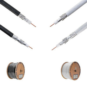 500FT / 1000FT RG6 Coaxial Cable Wire Dual / Quad Shield 18AWG White ...