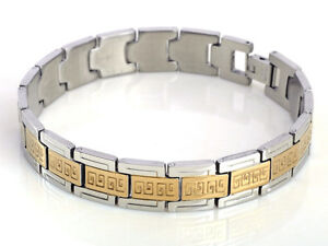 Fashion-Mens-Jewelry-316L-Stainless-Steel-Gold-Silver-Chain-Bracelet-H