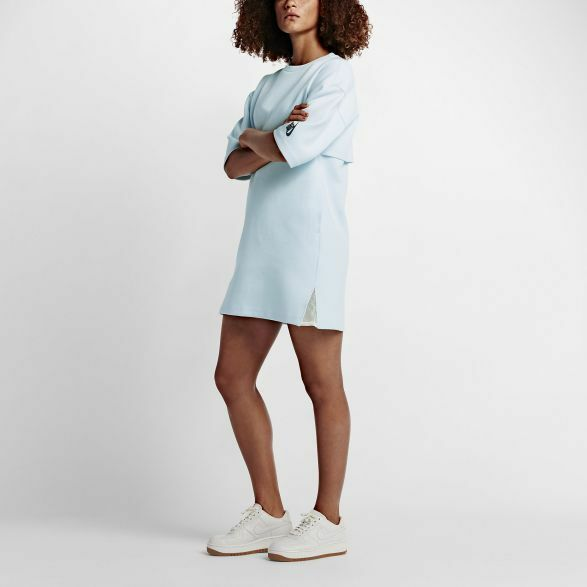 NikeLab Essentials Tech Fleece Dress SMALL (824086 408) GLACIER BLUEBLACK